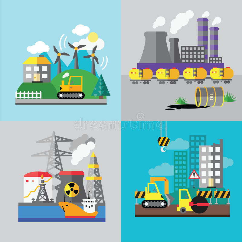 Fabrikslandskap, ekologibegrepp stock illustrationer