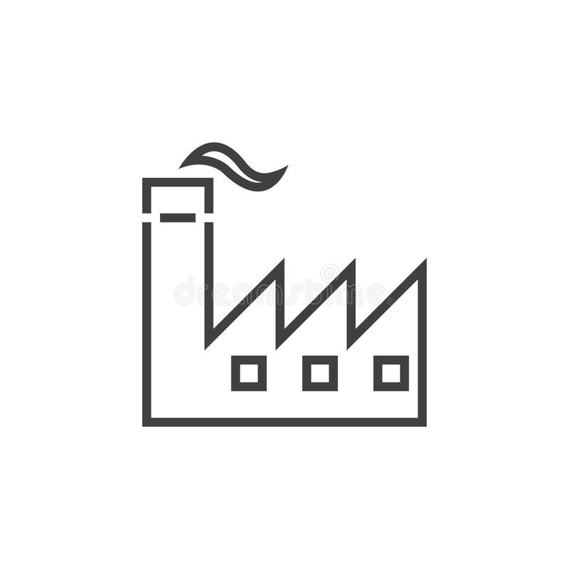 Fabrikslinje symbol, illustration för branschöversiktslogo, li royaltyfri illustrationer