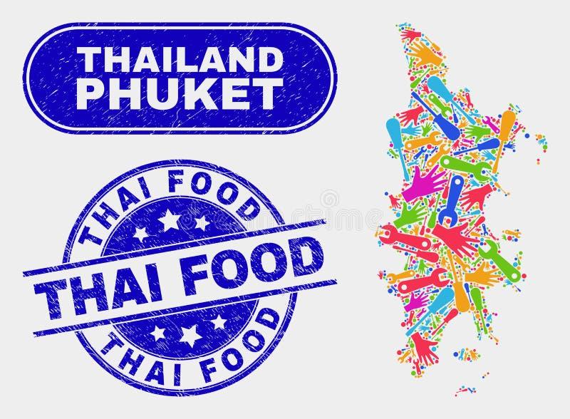 FabriksPhuket översikt och thailändska matkupongerskyddsremsor för Grunge royaltyfri illustrationer