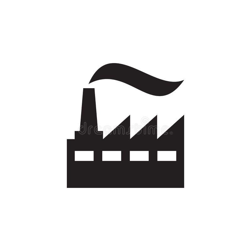 Fabriksväxt - svart symbol på den vita bakgrundsvektorillustrationen för websiten, mobil applikation, presentation som är infogra royaltyfri illustrationer