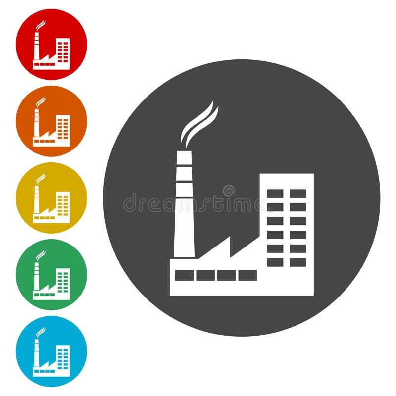 Fabrikvektorikone, Ikone der Fabrik stock abbildung