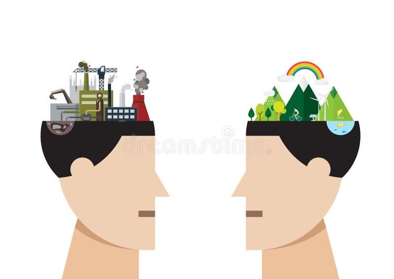 Fabrikverschmutzung und grüner Stadtkonzeptvektor lizenzfreie abbildung