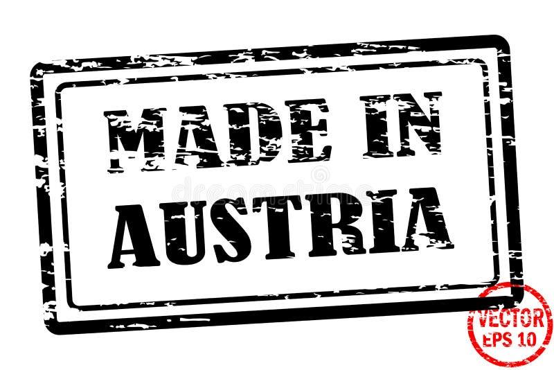 Fabriqué en Autriche - calibre du timbre grunged de place noire pour des affaires d'isolement sur le fond blanc illustration de vecteur