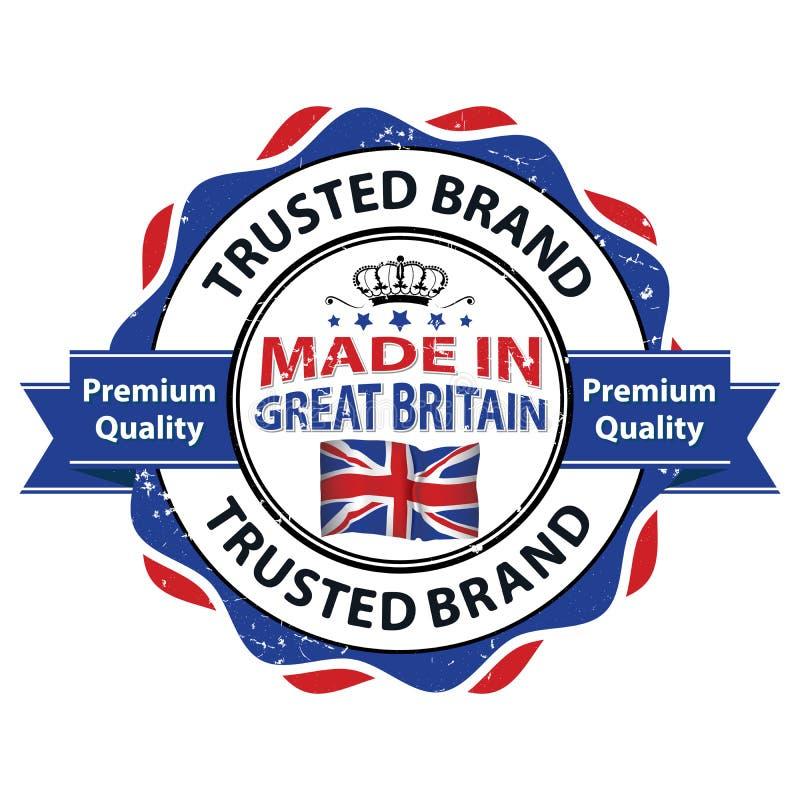 Fabriqué en Grande-Bretagne, marque de confiance, qualité de la meilleure qualité illustration de vecteur