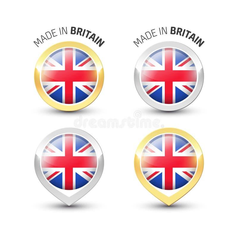 Fabriqué en Grande-Bretagne R-U - labels ronds avec des drapeaux illustration libre de droits