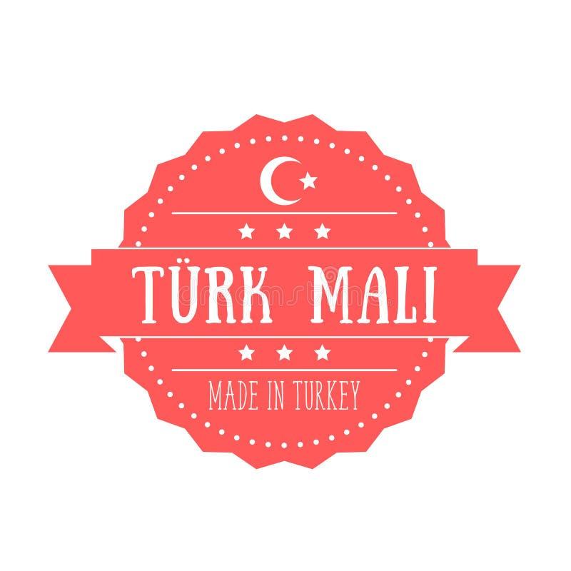 Fabriqué en Turquie, insigne de vintage, emblème illustration de vecteur
