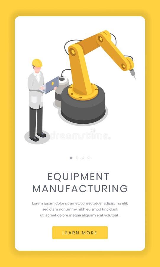 Fabriquez l'industrie, écran mobile d'appli d'assemblée Software Engineer d'installation de recherches, de cybernétique et de rob illustration stock