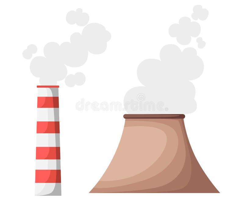 Fabrycznego budynek natury zanieczyszczenia rośliny drymby odpady sztandaru strony internetowej Płaska Wektorowa Ilustracyjna str ilustracja wektor