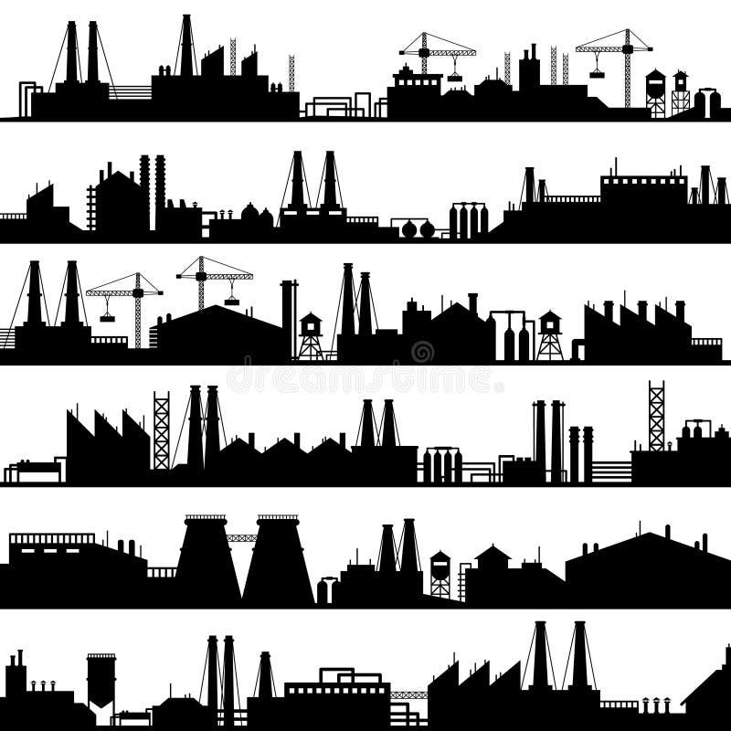 Fabrycznej budowy sylwetka Przemysłowe fabryki, rafinerii panorama i manufaktura budynków linia horyzontu wektor, royalty ilustracja