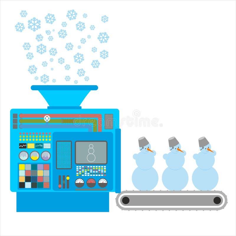Fabryczni bałwany Aparat dla produkować śnieżne postacie Jest śnieżny ilustracja wektor