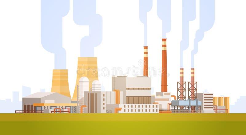 Fabryczny budynek natury zanieczyszczenia rośliny drymby odpady sztandar ilustracji