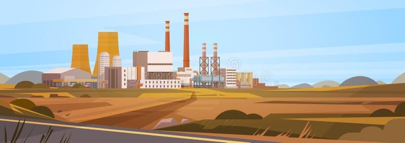 Fabryczny budynek natury zanieczyszczenia rośliny drymby odpady sztandar ilustracja wektor