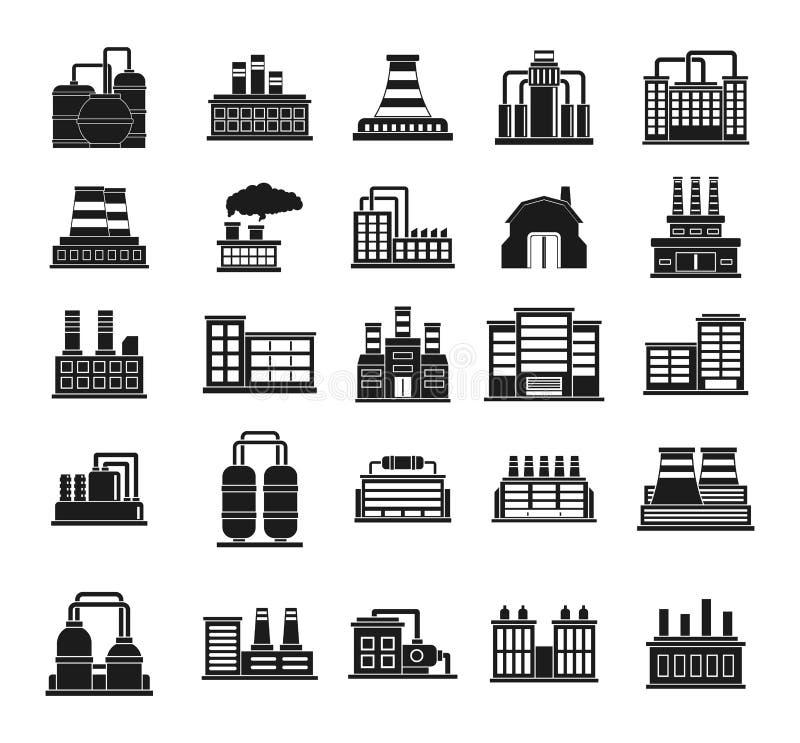 Fabryczny ikona set, prosty styl royalty ilustracja