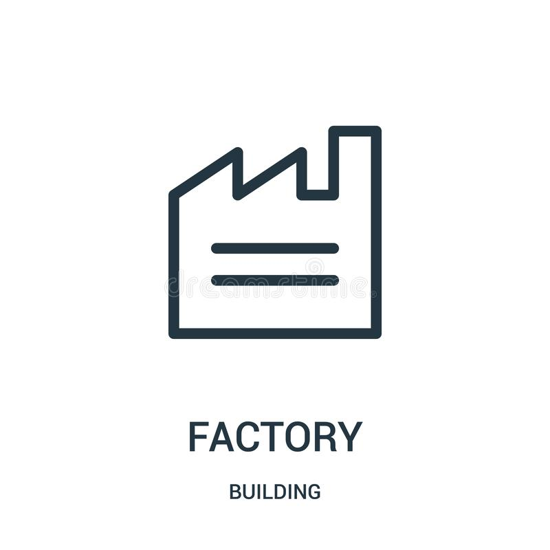 fabryczny ikona wektor od budynek kolekcji Cienka kreskowa fabryczna kontur ikony wektoru ilustracja royalty ilustracja