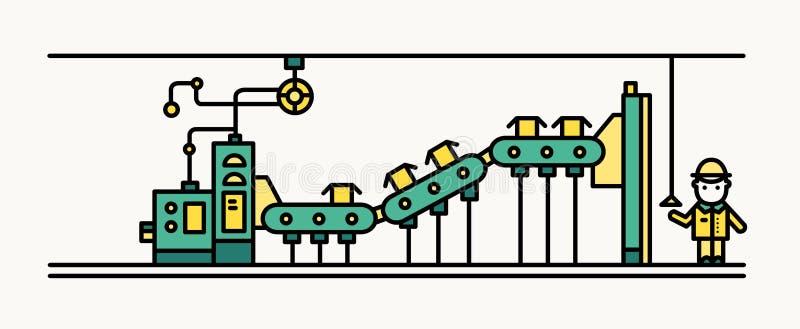 Fabryczny pasowy konwejer przenosi pudełka, pracownik jest ubranym ciężkiego kapelusz i ochronną odzież kontroluje proces produkc ilustracji