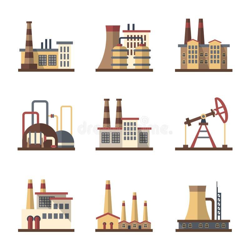Fabryczny przemysłowy budynek i zakład produkcyjny wektorowe płaskie ikony ilustracji