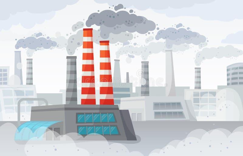 Fabryczny zanieczyszczenie powietrza Zanieczyszczający środowisko, przemysłowy smog i przemysł dymnych chmur wektoru ilustracja, ilustracja wektor
