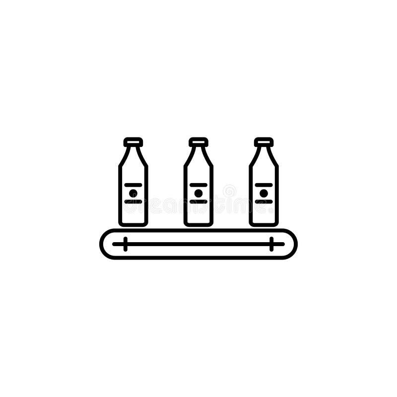 fabryka, butelka, produkcji ikona Element produkci ikona dla mobilnych pojęcia i sieci apps Cienka kreskowa fabryka, butelka, ilustracja wektor