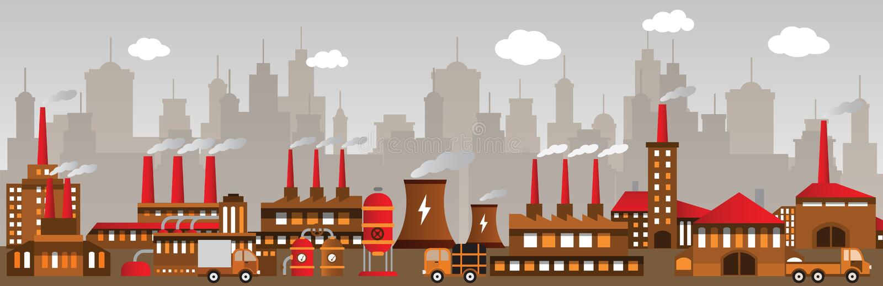 Fabryka w mieście ilustracja wektor