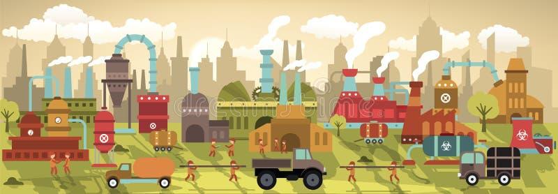 Fabryka w mieście (retro kolory) royalty ilustracja