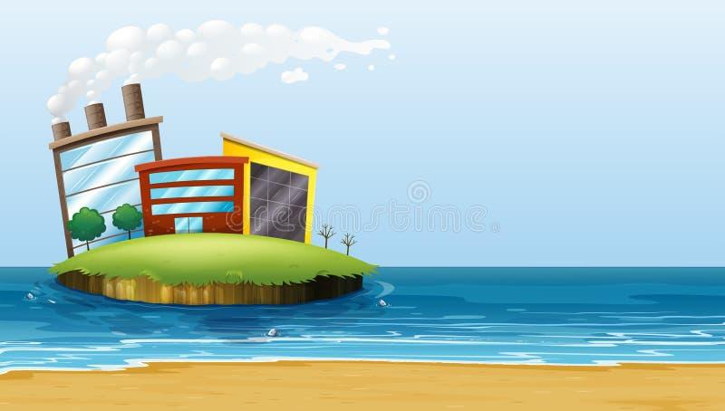 Fabryka w wyspie przy plażą ilustracji