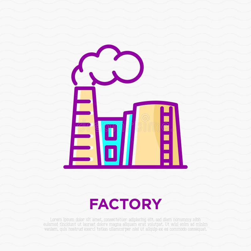 Fabryka z dymem od komin cienkiej kreskowej ikony ilustracji