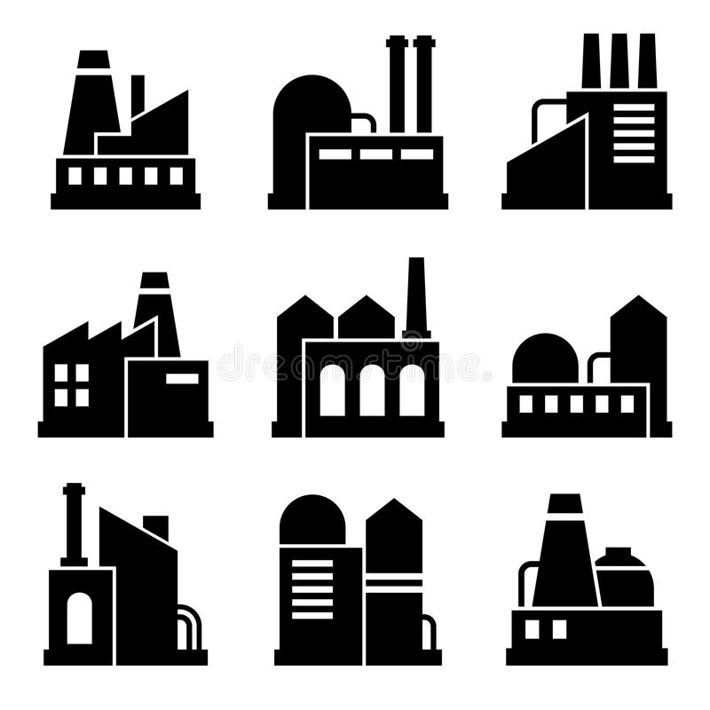 Fabryki i władza Przemysłowego budynku ikony set royalty ilustracja
