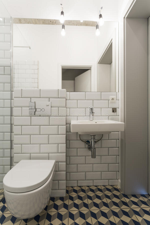 Fabulous bathroom in an industrial style royalty free stock image