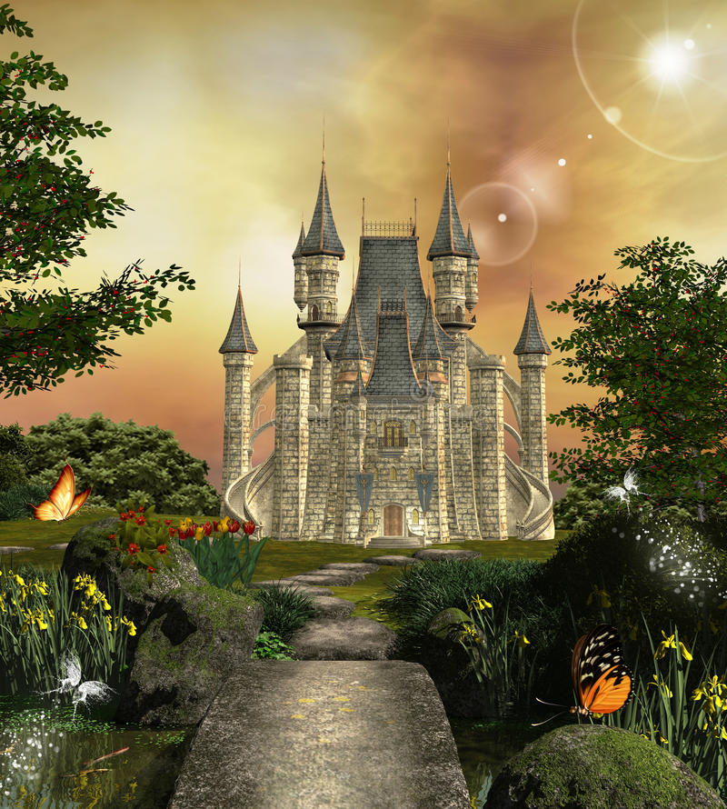 Fabulous castle stock illustration