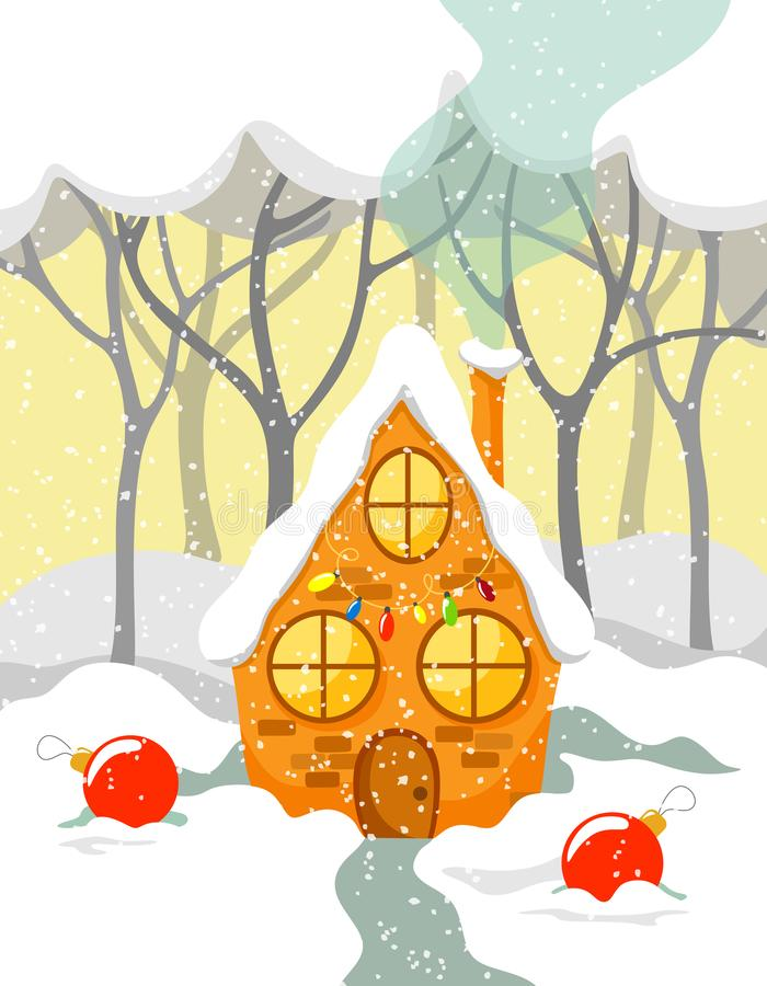 Fabulous decorated house in the forest with Christmas balls on the snow royalty free illustration
