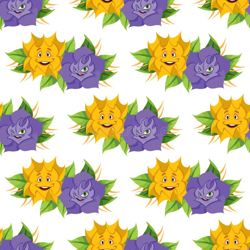 Fabulous flower from the fairy tale Alice`s Adventures in Wonderland. Seamless pattern of yellow and lilac roses stock illustration