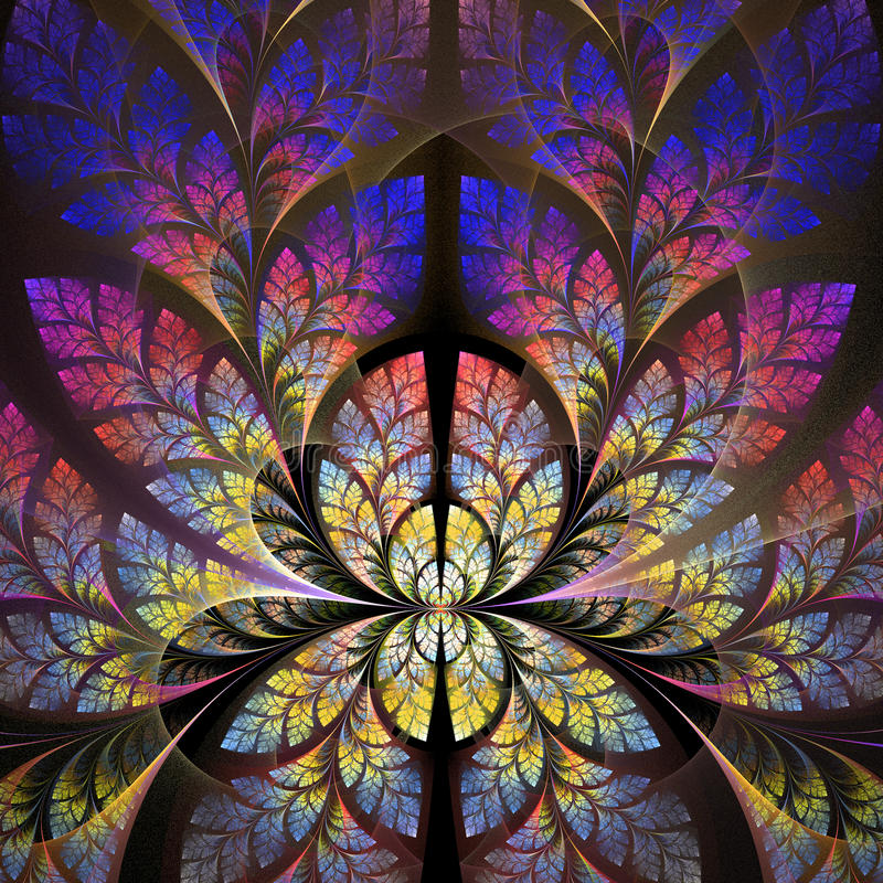 Fabulous fractal pattern in purple, blue and yellow. stock illustration