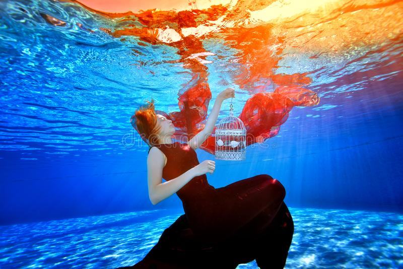 A fabulous girl in a beautiful dress in a pool swims and dreams on the background of bright lights. She holds a white cage stock photography
