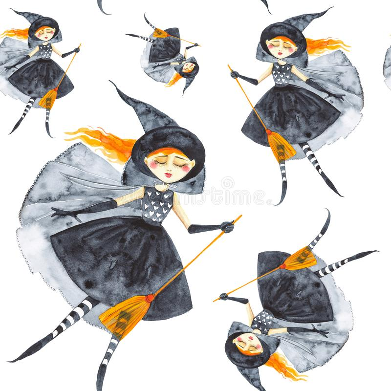 A fabulous girl in a black dress and striped stockings with a broom in her hands, dancing hovering in the air on Halloween. Watercolor illustration isolated on vector illustration