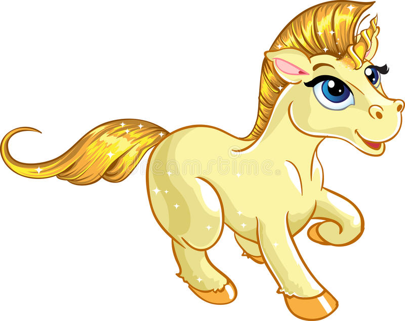 Download Fabulous gold baby unicorn stock illustration. Image of clip - 12052798