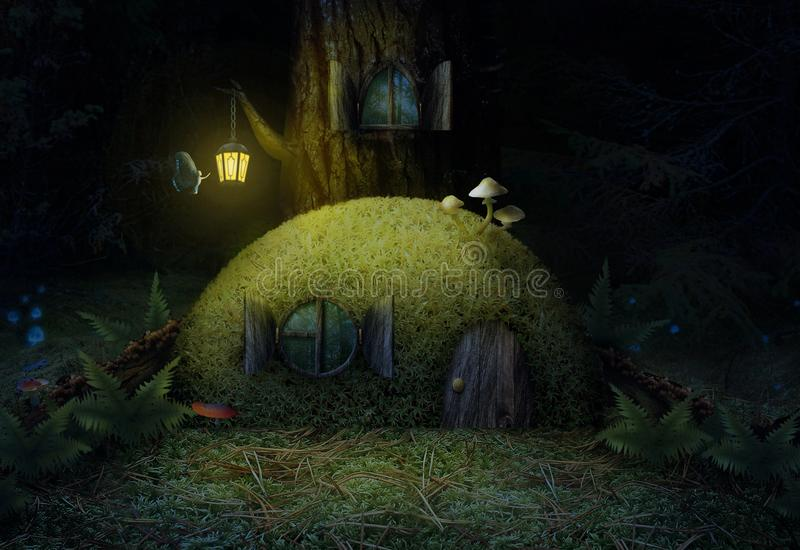 Magic house in the woods at night a beautiful moss tree. royalty free illustration