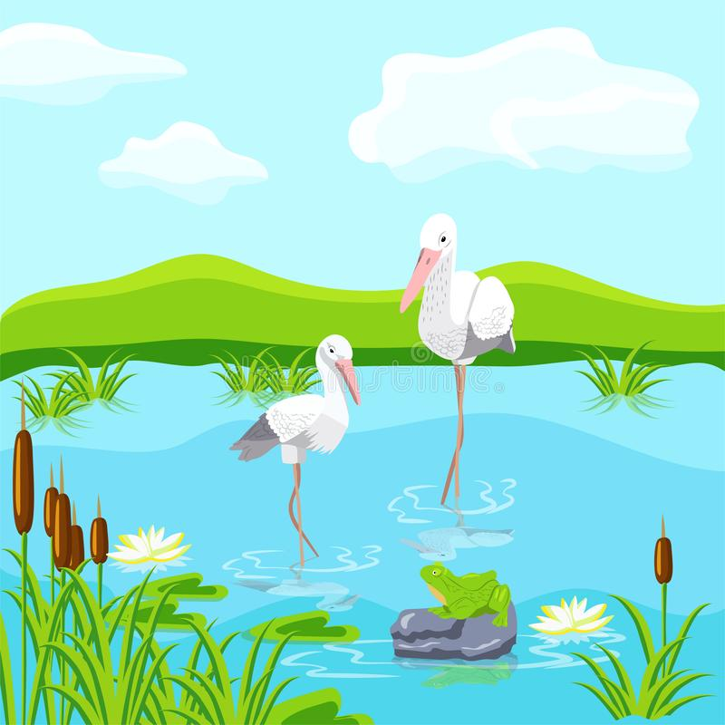 Fabulous inhabitants of the swamp. Herons and frogs. royalty free stock photo