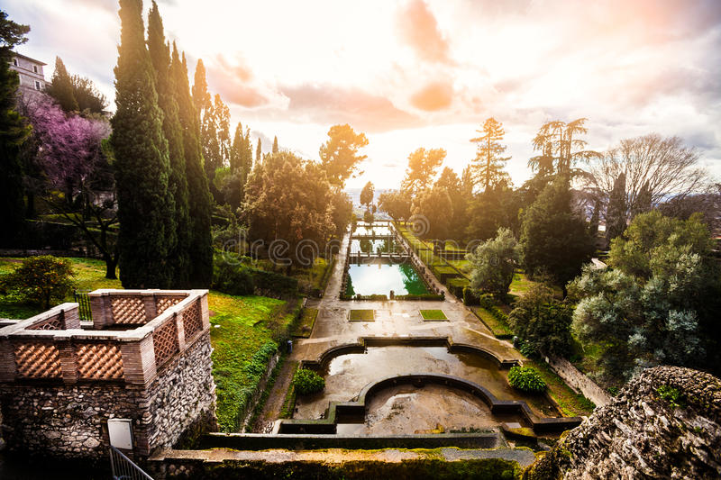 Fabulous landscape, gardens and fountains. Italian Renaissance garden, Italy. Fabulous landscape, gardens and fountains. Villa d Este, Italy. The Villa dEste is stock photography
