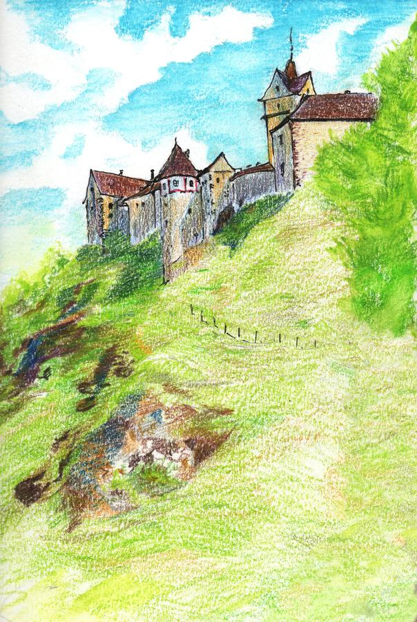 Fabulous medieval castle in the Czech Republic. Hand-drawn illustration of colored pencils vector illustration