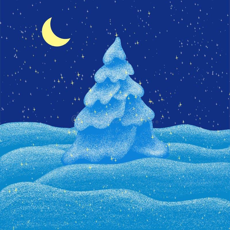 Fabulous snowy winter night. Christmas tree in the snow stock photo
