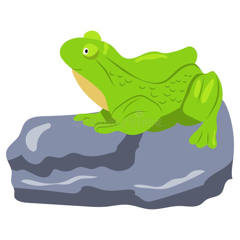 Swamp inhabitants. Funny green frog in cartoon style. royalty free stock image