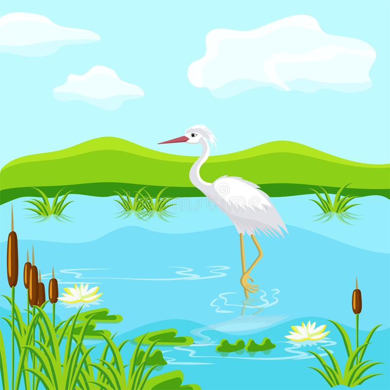 Fabulous inhabitants of the swamp. Herons and frogs. stock photography