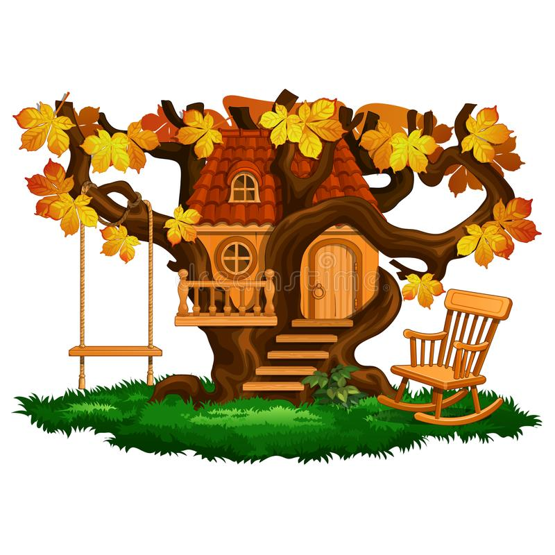 Fabulous tree house, swing and rocking chair, autumn season. vector illustration