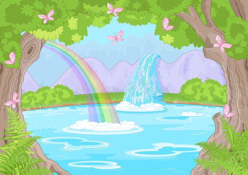 Fabulous Waterfall stock illustration
