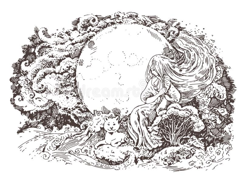 Fabuous night, girl combing her hair. Fantasy graphic illustration. Coloring book for adults. Graphic black and white illustration with fairy girl, combing her vector illustration