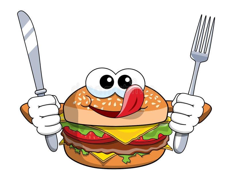 Faca com fome da forquilha do caráter do Hamburger dos desenhos animados que lambe as costeletas isoladas ilustração stock