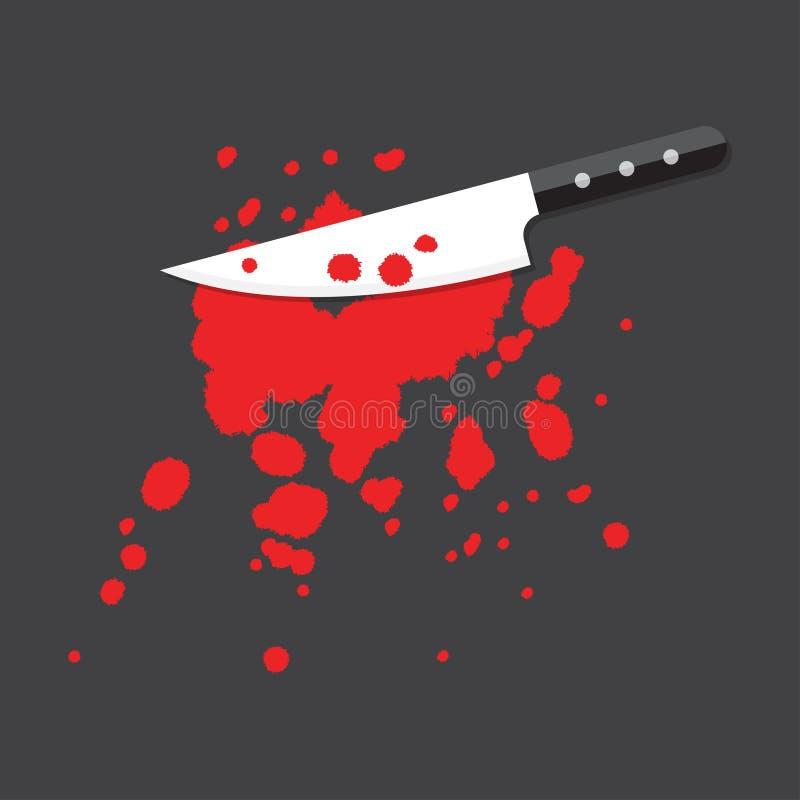 Faca com sangue ilustração stock