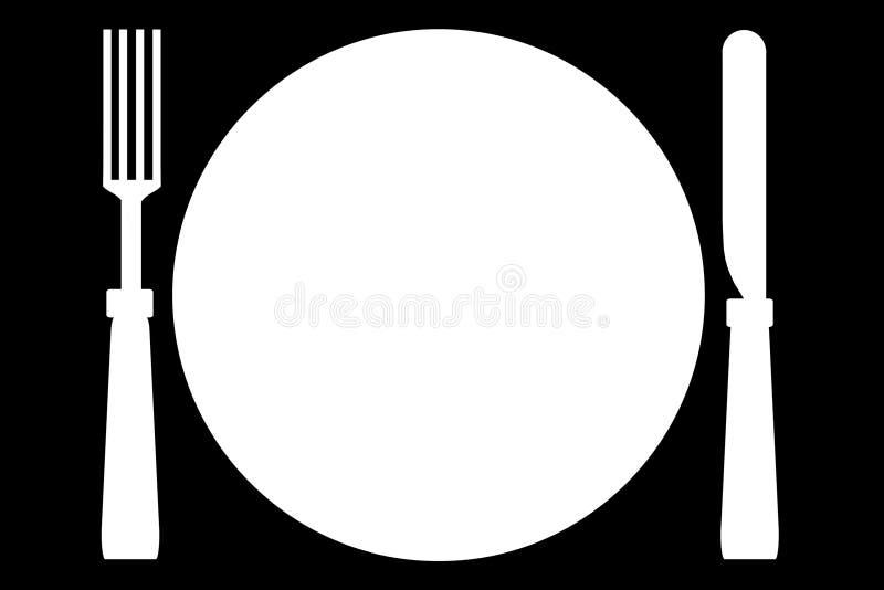 Faca da placa da forquilha ilustração do vetor