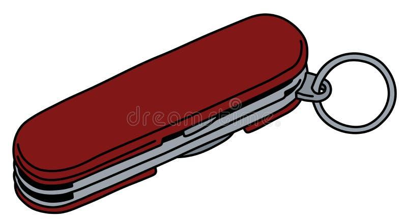A faca de bolso pequena vermelha ilustração do vetor