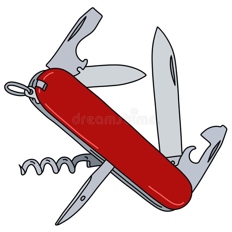 A faca de bolso suíça vermelha do exército ilustração royalty free